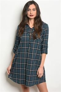 SA3-6-2-D15512 GREEN CHECKERED DRESS 2-2-2