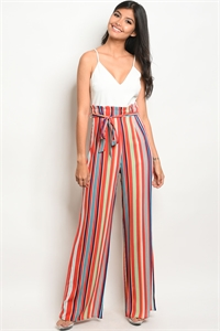 C29-A-3-NA-J19243 IVORY ORANGE STRIPES JUMPSUIT 2-2-2
