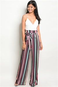 C27-A-2-NA-J19243 IVORY CORAL STRIPES JUMPSUIT 2-2-2