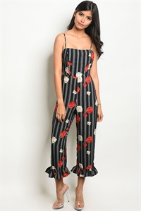 C30-A-1-NA-J19205 BLACK STRIPES WITH ROSE PRINT JUMPSUIT 3-2-1