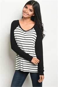 C15-B-6-NA-T16172 IVORY BLACK STRIPES TOP 2-2-2
