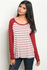 C7-B-1-NA-T16172 IVORY BURGUNDY STRIPES TOP 1-3-3