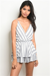 C7-B-1-NA-R19238 WHITE BLUE STRIPES ROMPER 3-2-1