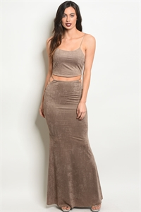 C89-A-1-SET1810 TAUPE TOP & SKIRT SET 4-2-1