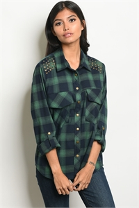 114-2-1-T3629 GREEN NAVY CHECKERED TOP 2-2-2
