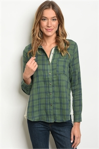 114-2-1-T3589 GREEN NAVY CHECKERED TOP 1-1-1
