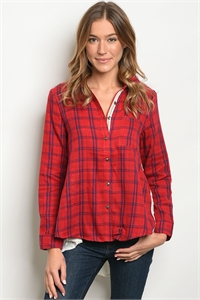 114-2-1-T3589 RED NAVY CHECKERED TOP 2-2-3