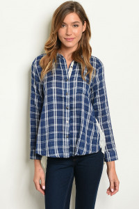 S3-8-2-T3589 NAVY WHITE CHECKERED TOP 2-2-2