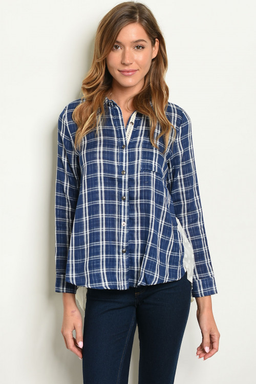 114-2-1-T3589 NAVY WHITE CHECKERED TOP 3-2-2