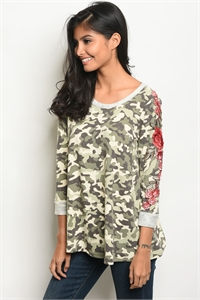 C22-B-2-T4408 OLIVE CAMOUFLAGE TOP 2-2-2