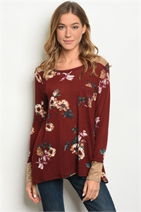 C42-B-3-T45341 BURGUNDY FLORAL TOP 2-2-2