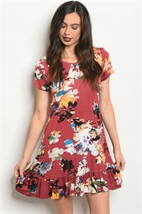 134-3-1-D5514 BERRY FLORAL DRESS 2-2-2