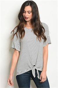 S11-4-4-T1243 IVORY NAVY STRIPES TOP 2-2-2