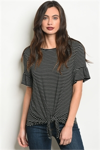 S17-9-4-T1243 BLACK IVORY STRIPES TOP 1-3-2