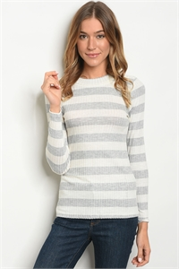 C60-B-6-T208 GREY IVORY STRIPES TOP 2-2-2