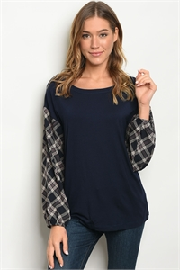 C72-B-6-T05861 NAVY CHECKERS TOP 2-2-2