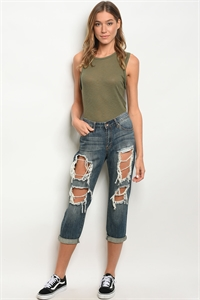 S12-7-1-J1239 DARK DENIM BLUE JEANS 2-2-1
