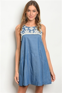 S19-8-4-D4284 MEDIUM BLUE DRESS 1-2-2