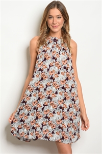 S10-5-4-D5194 PURPLE FLORAL DRESS 2-2-2