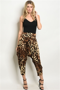 110-2-3-P9025 BROWN LEOPARD ANIMAL PRINT PANTS 2-2-2-2
