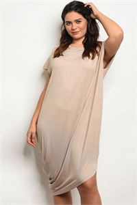 S20-3-5-D5365X SAND PLUS SIZE DRESS 2-2-2