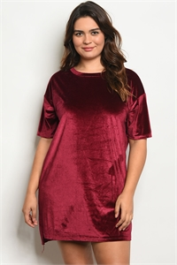 S9-1-2-D41827X WINE VELVET PLUS SIZE DRESS 3-2-1