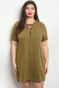 S9-19-1-D41797X OLIVE PLUS SIZE DRESS 3-2-1