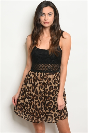 S25-2-3-D2048 BLACK BROWN LEOPARD PRINT DRESS 2-2-2