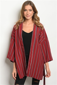 S20-10-4-C13577 WINE BLACK STRIPES CARDIGAN 3-2-1