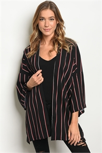 S11-1-3-C13577 BLACK WINE STRIPES CARDIGAN 3-2-1