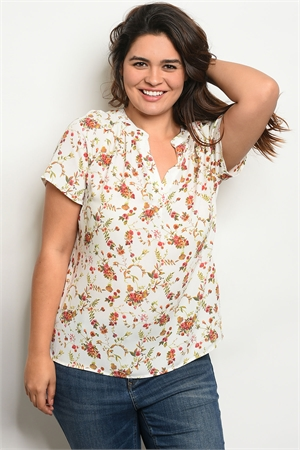 136-4-4-T58487X IVORY FLORAL PLUS SIZE TOP 2-2-2