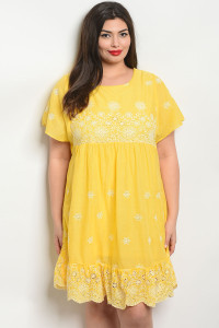 S14-3-5-D81048X YELLOW OFF WHITE PLUS SIZE DRESS 2-2-2