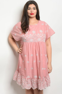 S14-3-4-D81048X BLUSH OFF WHITE PLUS SIZE DRESS 2-2-2