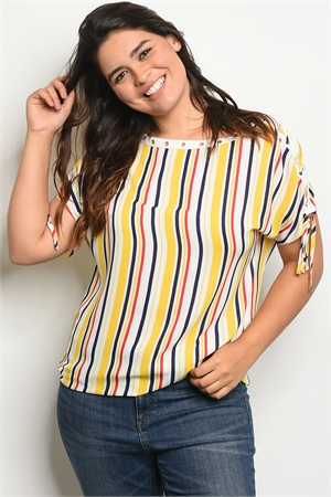 136-1-3-T38656X YELLOW RED STRIPES PLUS SIZE TOP 2-2-2