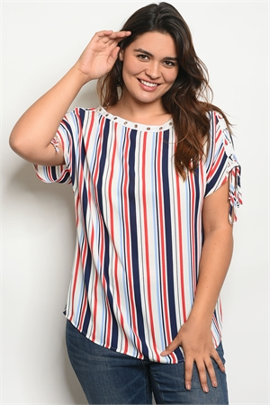 136-1-1-T38656X NAVY RED STRIPES PLUS SIZE TOP 2-2-2