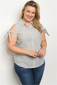 S19-7-3-T9109X BLACK WHITE STRIPES PLUS SIZE TOP 2-2-2