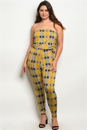 C59-A-3-J1668-3X MUSTARD GRAY PLAID PLUS SIZE JUMPSUIT 2-2-2