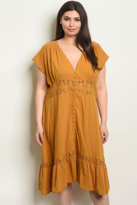 S21-2-1-D5591X MUSTARD PLUS SIZE DRESS 2-2-2