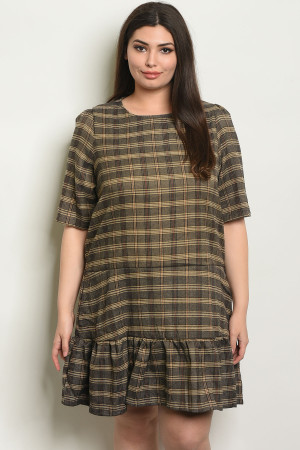 S19-6-2-D5371X BROWN CHECKERED PLUS SIZE DRESS 2-2-2