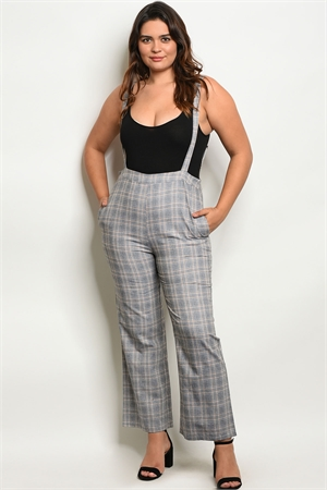 S18-3-2-P2003AX GRAY MUSTARD PLAID PLUS SIZE OVERALL PANTS 2-2-2