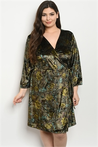 S20-5-1-D5363X OLIVE VELVET WITH ROSES PRINT PLUS SIZE DRESS 2-2-2