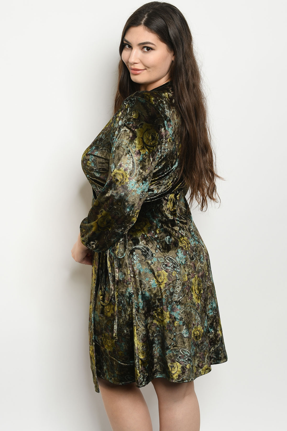 f2f65341a97 S20-5-1-D5363X OLIVE VELVET WITH ROSES PRINT PLUS SIZE DRESS 2-2-2