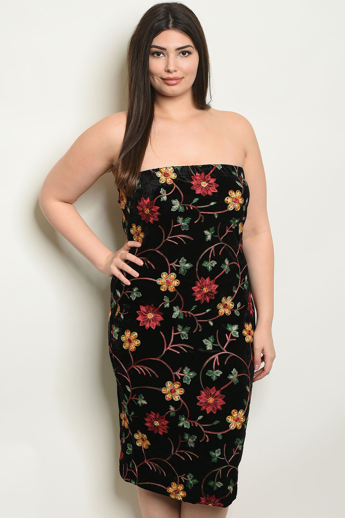 C29-A-3-D9525X BLACK FLORAL SWAY PLUS SIZE DRESS 2-2-2