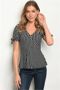 C24-B-3-T3714848 BLACK WHITE STRIPES TOP 2-2-2
