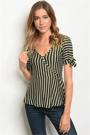 C24-B-4-T3714848 OLIVE WHITE STRIPES TOP 2-2-2