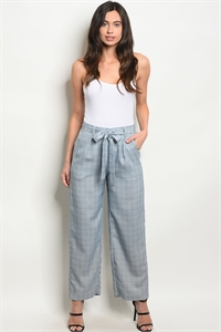 112-5-3-P2264 BLUE WHITE CHECKERED PANTS 2-2-2