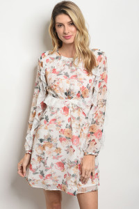 S11-16-4-D2055 OFF WHITE FLORAL DRESS 2-2-2