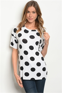 C31-B-6-T3847058 WHITE BLACK WITH DOTS TOP 2-2-2