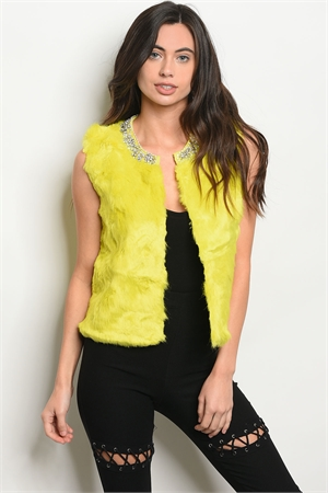 S8-12-3-V3058 LIME FAUX FUR VEST 2-2-2