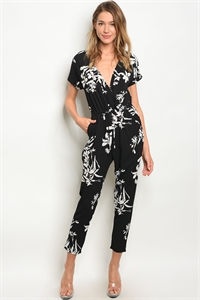 C63-A-3-J3268 BLACK WHITE JUMPSUIT 2-2-2